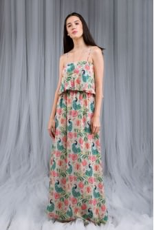 Anaar Aur Mor Print Flouncy Dress