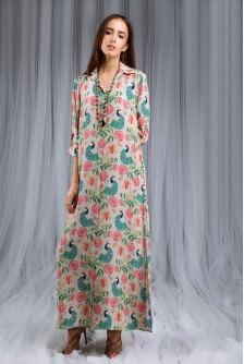 Anaar Aur Mor Print Shirt Dress