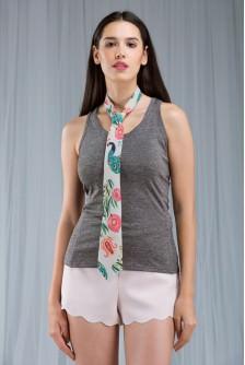 Khaki Anaar Aur Mor Print Men's Tie