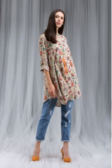 Chidiya Print Cowl Tunic